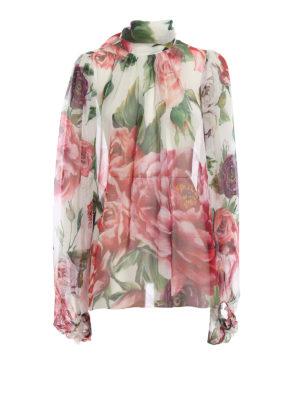 DOLCE & GABBANA: bluse - Blusa in seta stampa Peonie con sciarpina