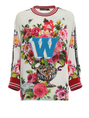 DOLCE & GABBANA: bluse - Blusa in cady con stampa rose
