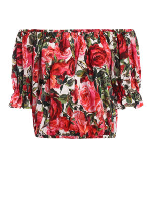 Dolce & Gabbana: blouses - Rose print off the shoulder blouse