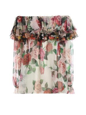 DOLCE & GABBANA: blouses - Rose print silk blouse