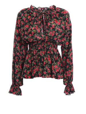 Dolce & Gabbana: blouses - Small rose print silk blouse