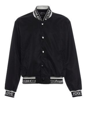Dolce & Gabbana: bombers - Logo knitted edges bomber jacket