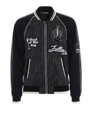 Dolce & Gabbana: bombers - Musical patches pinstriped bomber