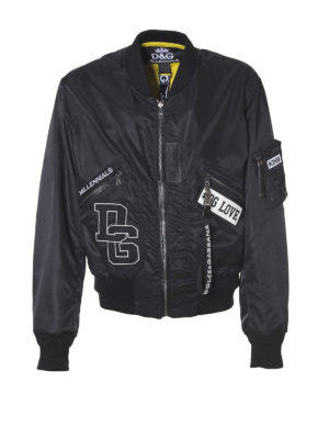 DOLCE & GABBANA: giacche bomber - Bomber double in nylon con patch