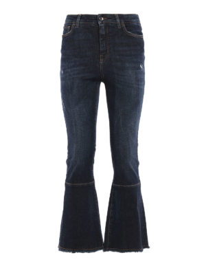 Dolce & Gabbana: bootcut jeans - Used effect flared crop jeans