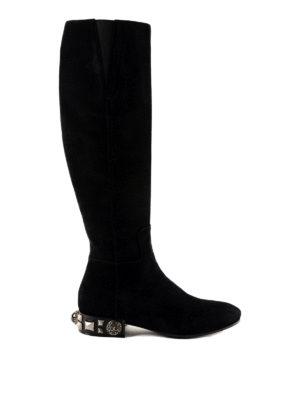 DOLCE & GABBANA: stivali - Stivali in camoscio con borchie sul tacco