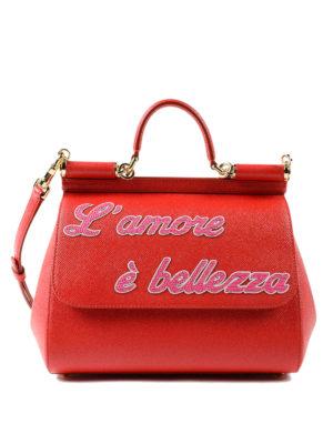 DOLCE & GABBANA: bauletti - Sicily M rossa L'amore è bellezza