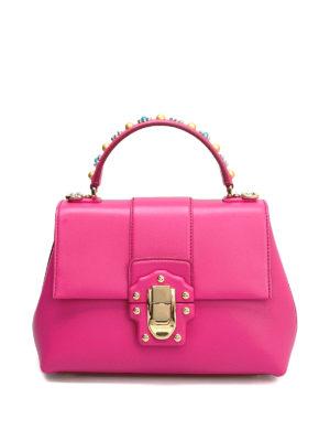 Dolce & Gabbana: bowling bags - Lucia embellished leather handbag