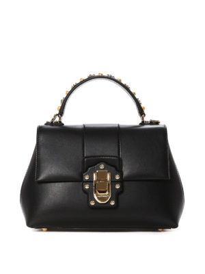 Dolce & Gabbana: bowling bags - Lucia embellished leather handbag