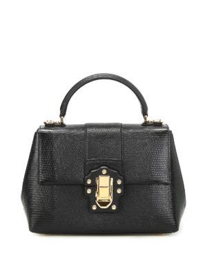 Dolce & Gabbana: bowling bags - Lucia iguana print leather handbag