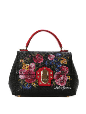 Dolce & Gabbana: bowling bags - Lucia roses print leather handbag