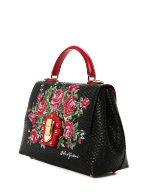 Dolce & Gabbana: bowling bags online - Lucia roses print leather handbag