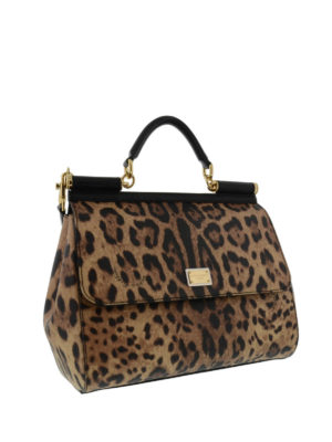 Dolce & Gabbana: bowling bags online - Sicily animal print large bag