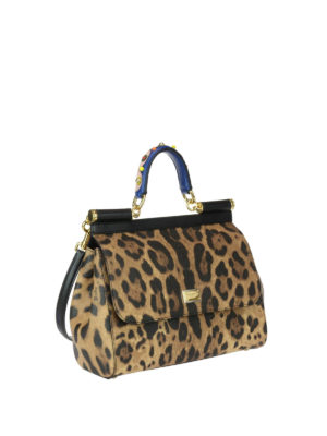 Dolce & Gabbana: bowling bags online - Sicily M animal print leather bag