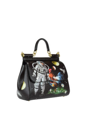 Dolce & Gabbana: bowling bags online - Sicily M spacial print leather bag