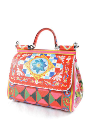 Dolce & Gabbana: bowling bags online - Sicily Mambo print medium bag