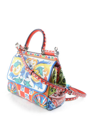 Dolce & Gabbana: bowling bags online - Sicily Mambo print small bag