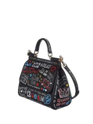 Dolce & Gabbana: bowling bags online - Sicily medium dauphine leather bag