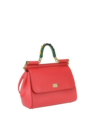 Dolce & Gabbana: bowling bags online - Sicily medium light red leather bag