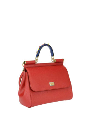 Dolce & Gabbana: bowling bags online - Sicily medium red leather bag