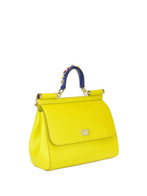 Dolce & Gabbana: bowling bags online - Sicily medium yellow leather bag