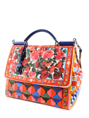 Dolce & Gabbana: bowling bags online - Sicily Soft Mambo print tote