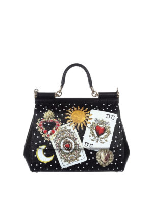Dolce & Gabbana: bowling bags - Sicily dauphine leather medium bag