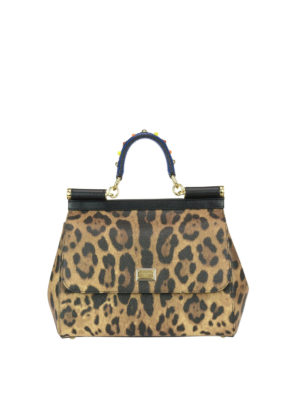 Dolce & Gabbana: bowling bags - Sicily M animal print leather bag