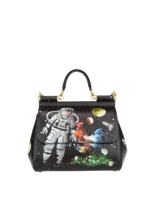 Dolce & Gabbana: bowling bags - Sicily M spacial print leather bag