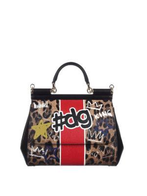 Dolce & Gabbana: bowling bags - Sicily medium animalier print bag