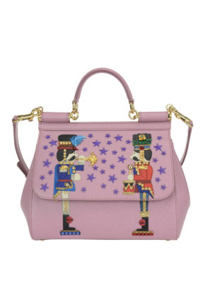Dolce & Gabbana: bowling bags - Sicily medium bag with appliques