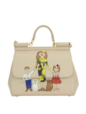 Dolce & Gabbana: bowling bags - Sicily medium bag with Family patch