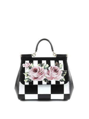 Dolce & Gabbana: bowling bags - Sicily medium chequered leather bag