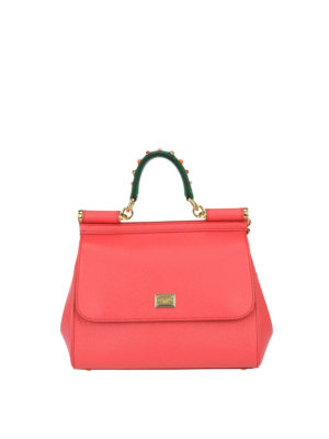 Dolce & Gabbana: bowling bags - Sicily medium light red leather bag