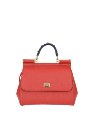 Dolce & Gabbana: bowling bags - Sicily medium red leather bag
