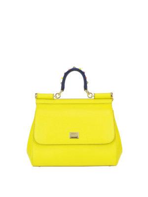 Dolce & Gabbana: bowling bags - Sicily medium yellow leather bag