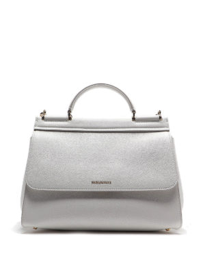 DOLCE & GABBANA: bowling bags - Sicily Soft medium white bag