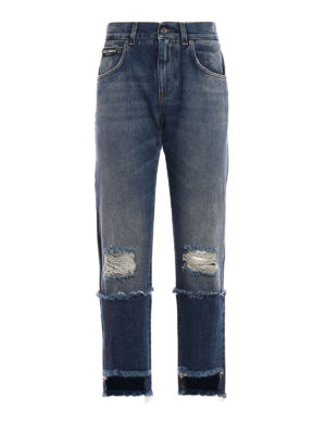 Dolce & Gabbana: Boyfriend - Embroidered logo five pocket jeans