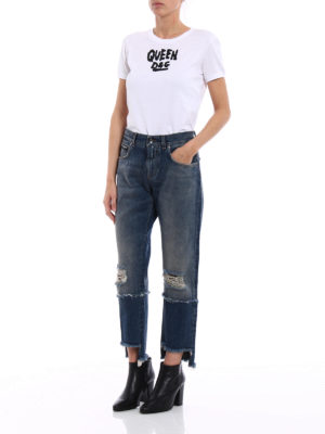 Dolce & Gabbana: Boyfriend online - Embroidered logo five pocket jeans