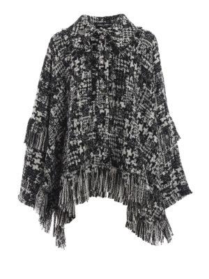 DOLCE & GABBANA: Mantelle e poncho - Mantella in tweed pied-de-poule con frange