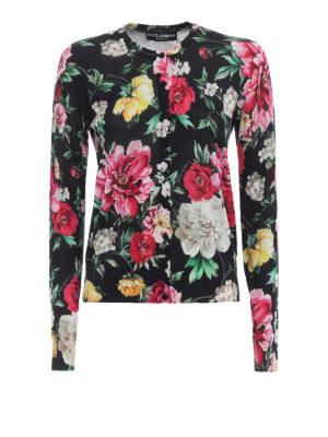 Dolce & Gabbana: cardigans - Floral print silk cardigan