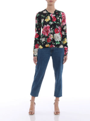Dolce & Gabbana: cardigans online - Floral print silk cardigan