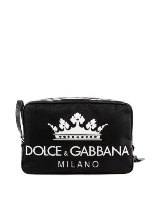 DOLCE & GABBANA: custodie e cover - Beauty case zip in nylon stampa D&G Milano