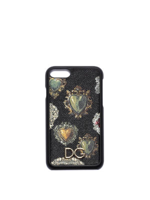 Dolce & Gabbana: Cases & Covers - Heart print leather iPhone 7 cover