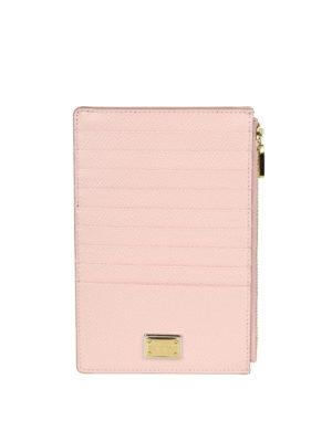 DOLCE & GABBANA: custodie e cover - Porta carte di credito in pelle rosa pallido