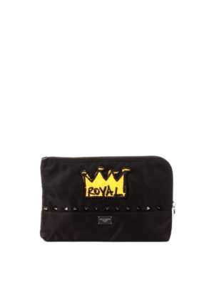 Dolce & Gabbana: Cases & Covers - Royal patch studded nylon pouch