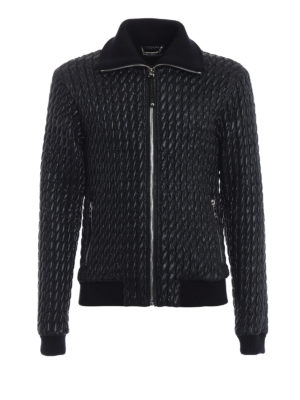 DOLCE & GABBANA: giacche casual - Giacca in nylon matelassé blu scuro