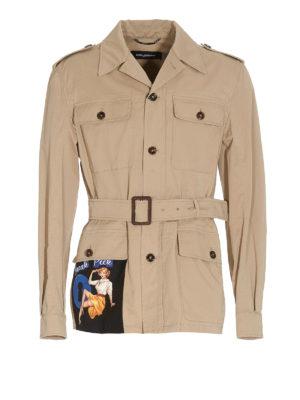 DOLCE & GABBANA: casual jackets - Pin-up print Saharan jacket