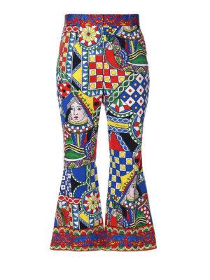 DOLCE & GABBANA: pantaloni casual - Pantaloni corti a campana in cotone