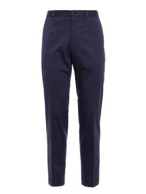 Dolce & Gabbana: casual trousers - Blue cotton poplin chino trousers
